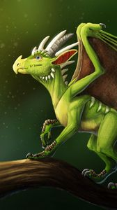 Preview wallpaper dragon, horns, wings, fantasy
