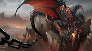 Preview wallpaper dragon, jaws, chains, stone, shatter