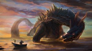 Preview wallpaper dragon, knight, art, boat