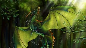 Preview wallpaper dragon, lake, forest, water, art