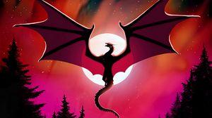 Preview wallpaper dragon, moon, night, dark, art