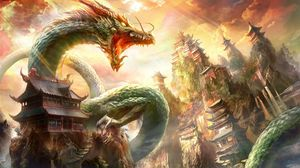 Preview wallpaper dragon, mouth, house, sky, rays
