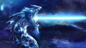 Preview wallpaper dragon, mouth, night, light