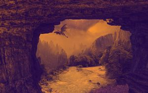 Preview wallpaper dragon, mystical, fantasy, waterfall, river, rocks
