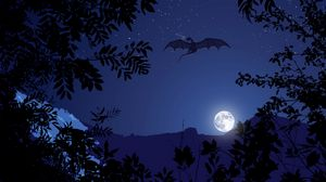 Preview wallpaper dragon, night, moon, art, fantasy