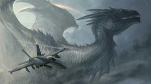 Preview wallpaper dragon, plane, rainbow, rockets, sky