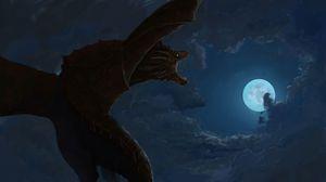 Preview wallpaper dragon, roar, sky, art