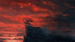 Preview wallpaper dragon, rock, cliff, sunset, art