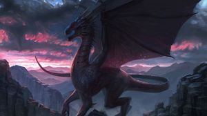 Preview wallpaper dragon, rock, fantasy, art