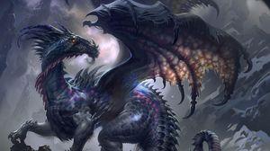 Preview wallpaper dragon, wings, profile, rock