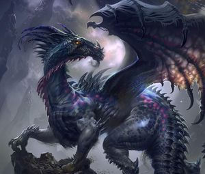 Preview wallpaper dragon, wings, profile, rock