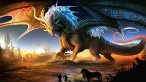 Preview wallpaper dragons, mother, cub, people, animals, sunset