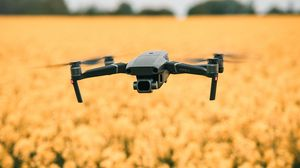 Preview wallpaper quadcopter, drone, flight, flowers, yellow, field