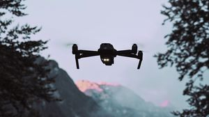 Preview wallpaper drone, quadrocopter, mountains, dusk, landscape