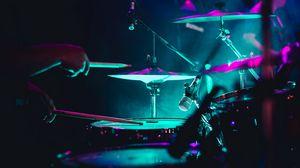 Preview wallpaper drum, instrument, neon, dark