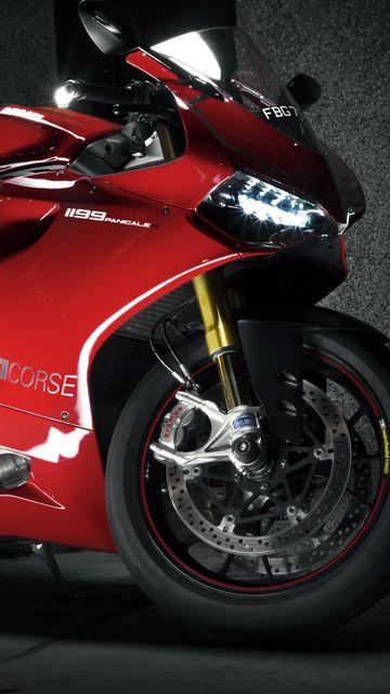 360x640 Wallpaper ducati, 1199, ducati 1199 panigale, motorcycle, red