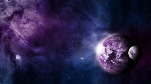 Preview wallpaper earth, moon, space, galaxy