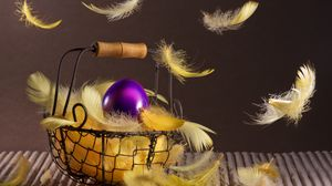 Preview wallpaper easter, basket, feathers, egg