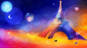 Preview wallpaper eiffel tower, art, cat, bird, colorful