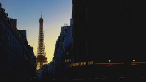 Preview wallpaper eiffel tower, france, paris, evening