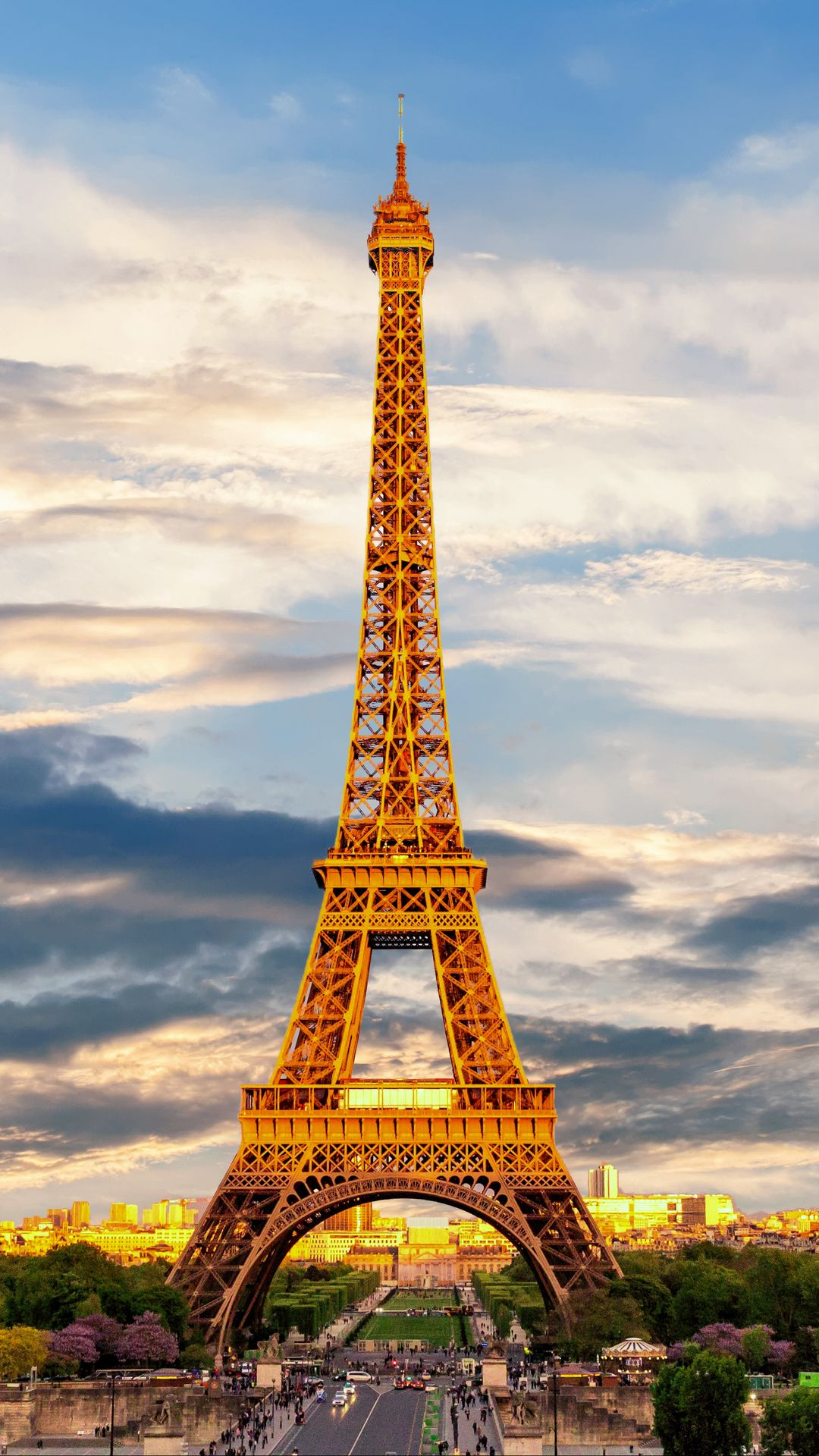 download wallpaper 1080x1920 eiffel tower, paris, france, showplace