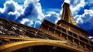 Preview wallpaper eiffel tower, paris, france, sky