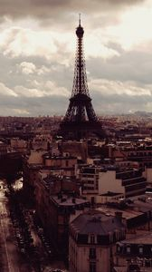 Preview wallpaper eiffel tower, paris, france, top view, evening