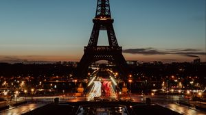 Preview wallpaper eiffel tower, paris, night, city lights