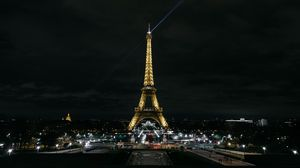 Preview wallpaper eiffel tower, paris, night city, city lights, france