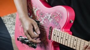 Preview wallpaper electric guitar, guitar, guitarist, music, pink
