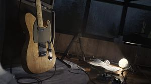 Preview wallpaper electric guitar, guitar, musical instrument, amplifier, window, sheets
