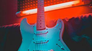 Preview wallpaper electric guitar, guitar, musical instrument, neon, light