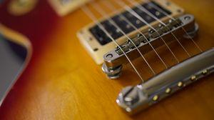 Preview wallpaper electric guitar, guitar, strings, musical instrument, brown