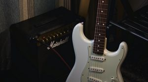 Preview wallpaper electric guitar, guitar, white, amplifier, musical instrument