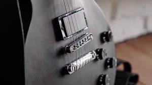Preview wallpaper electric guitar, strings, pickup, bridge, musical instrument, black