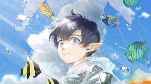 Preview wallpaper elf, boy, water, fish, anime