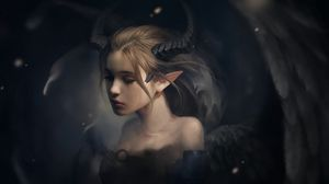 Preview wallpaper elf, horns, fantasy, art