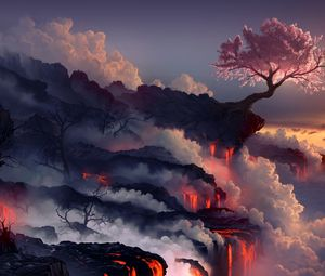 Preview wallpaper eruption, lava, volcano, oriental cherry, tree