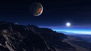 Preview Wallpaper Exoplanet Atmosphere Clouds Stars Moon Mist Mountains Rocks