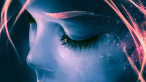 Preview wallpaper eyes, eyelashes, sleep, dreams, art