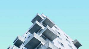 Preview wallpaper facade, building, sky, minimalism, blue