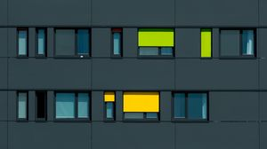 Preview wallpaper facade, windows, colorful, building