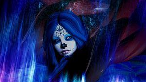 Preview wallpaper face, mask, make-up, art, woman, dark