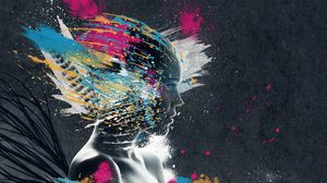 Preview wallpaper face, paint, explosion, imagination