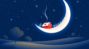 Preview wallpaper fantastic, month, stars, winter, snow, house, smoke, trees