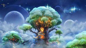 Preview wallpaper fantasy, tree, art, magic