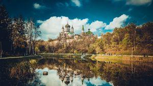 Preview wallpaper feofania, kiev, cathedral, reflection, pond