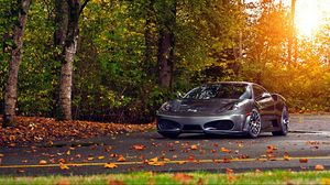 Preview wallpaper ferrari, 430, scuderia, park, autumn, auto