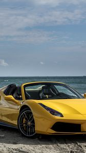 Preview wallpaper ferrari, 488, spider, yellow, side view