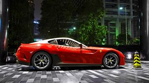 Preview wallpaper ferrari, 599, gto, red, supercar, night, parking, city, light, building